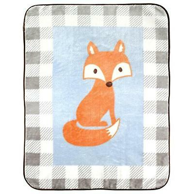 """Luvable Friends Character High Pile Blanket, Blue Fox, 30"""" x 40"""", New, Free Ship"""