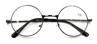Vintage Round Metal Reading Glasses Retro Readers John Lennon +1.00~+4.00 Grey