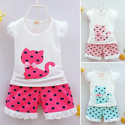 Kids Toddler Baby Girls Polka Dot Cat Vest Tops+Shorts Pants Outfits Clothes Set