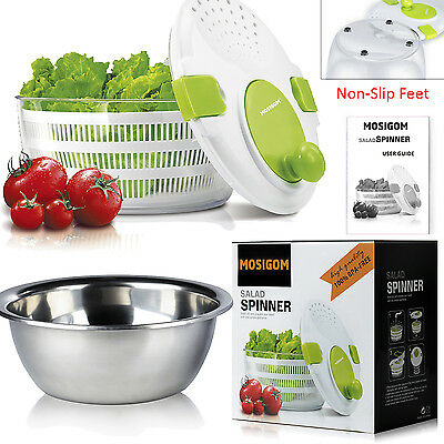Healthy Easy-to-clean Salad Spinner+Stainless Steel Salad Bowl(Green)