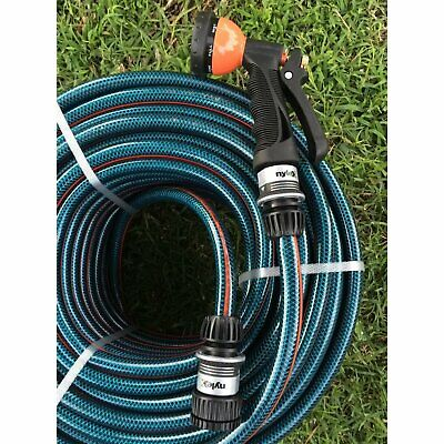 "Garden Water 40M Hose 1/2"" - 12mm Nylex Fittings & Aluminum Gun 8/10 Kink Free"