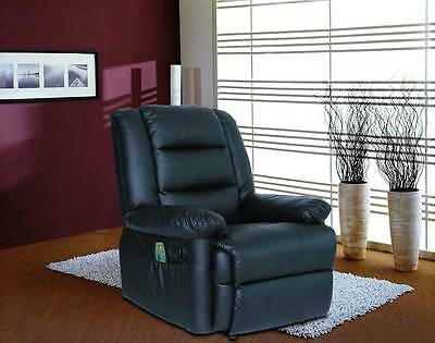 Luxury Black Leather Recliner Chair Electric Massage Option Gaming Armchair