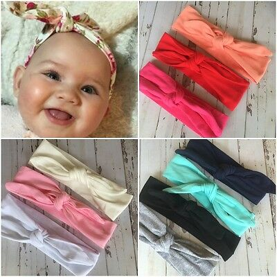 Miss JANE - Newborn Baby Girls Stretch Bow Top Knot Headband Plain Colours