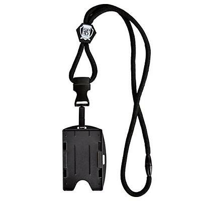 Specialist ID Black Lanyard with Detachable Plastic Hook and 2-Card ID Badge Hol
