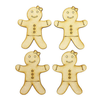 3mm MDF Gingerbread Ladies 50mm Wooden Shapes Holiday Card Craft