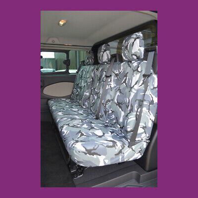 Ford Transit Custom 2013+ DCIV Tailored Rear Seat Cover Grey Camo UK MADE