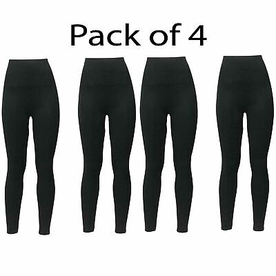 Pack Of 4 Ladies Womens Plain Stretchy Legging Waist Full Length Leggings