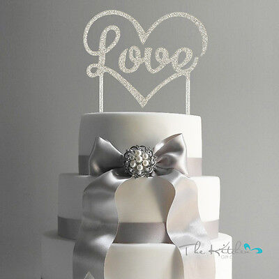 LOVE Acrylic Cake Topper Wedding Engagement Party Decoration Silver Glitter
