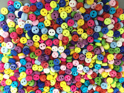 200pc Mixed Colors Round Shape Resin Mini Buttons lots 2 holes sewing 6mm