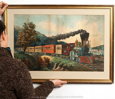 CURRIER & IVES American Locomotive Steam Engine ANTIQUE Hand Colored Print 1880