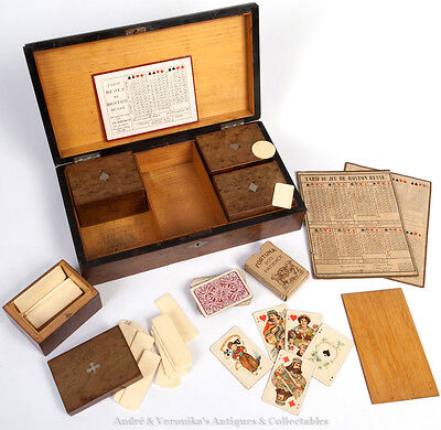 Antique Playing Cards Gambling Chips DUTCH WHIST Maple Wood Suits Set Box Casino