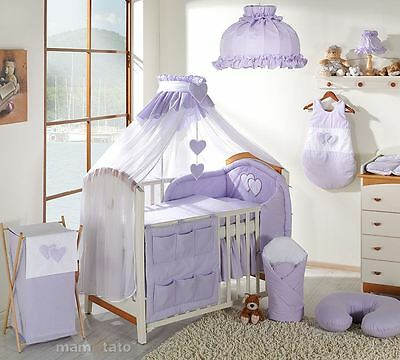 10 Piece Baby Bedding Set to fit Cot 120 x 60 cm - Hearts Violet