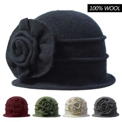 Women Lady Autumn Winter Warm Flower 100% Wool Felt Vintage Elegant Dome Hat Cap