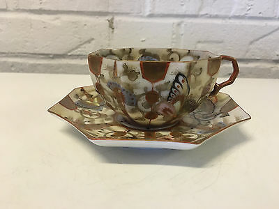 Antique Japanese Kutani Porcelain Signed Cup & Saucer w/ Butterfly Decoration