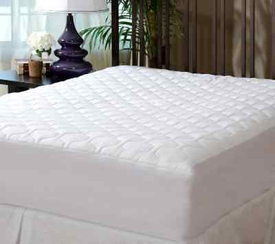 Bed Mattress Pad Cover Protector Fitted Quilted Hypoallergenic Full Size White