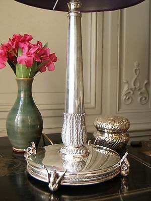 Superb Sterling Silver Empire Table Lamp; Hollywood Regency Antique Mid Century