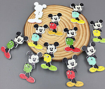 Mickey Mouse wooden Buttons Fit Sewing Scrapbooking Buttons Mixed Colors 35mm