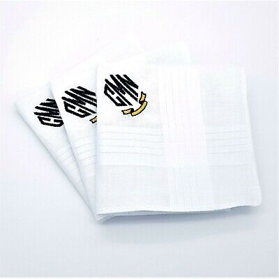 3x MONOGRAM HANDKERCHIEFS EMBROIDERED PERSONALISED ANY INITIALS HANKIES MEN LADY