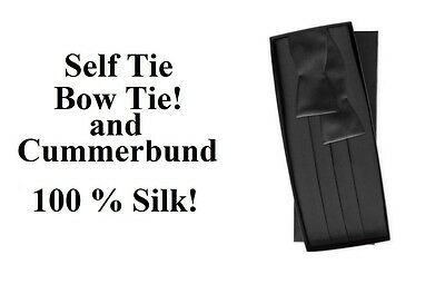 NEW Men's Black 100% Silk Cummerbund  Self Tie Bow tie Tuxedo Tux Formal Set