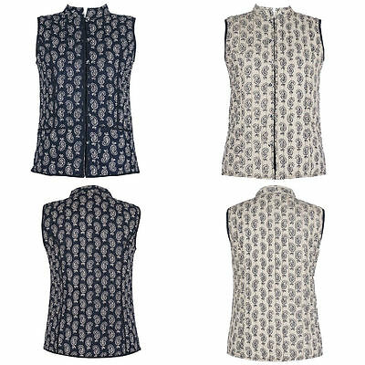 Cotton Lane Hand Block Reversible Printed Waistcoat W80 Paisley. Sizes UK 8-38
