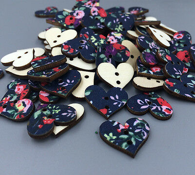 NEW 100pcs  Mixed Wood Sewing Buttons Heart 2 Holes Painted 18mm Free shipping