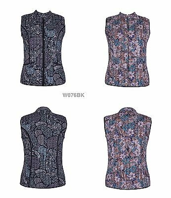 Cotton Lane Hand Screen Reversible Printed Waistcoat W76. Sizes UK 8 to 38