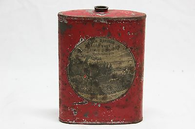 Vintage Dead Shot Sporting Gun Powder Tin Can Flask Container American Mills