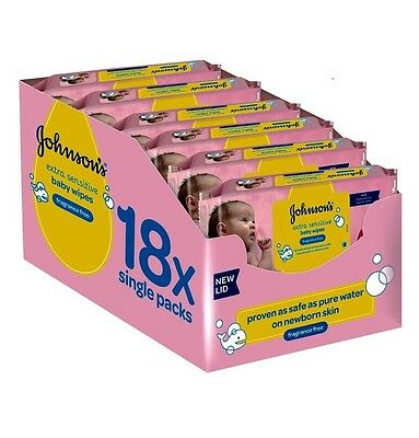 Johnson's Baby 1008 Wipes Extra Sensitive Fragrance Free Wipes Pack of 18 NEW
