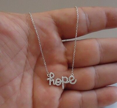 Word Hope 925 Sterling Silver Necklace Pendant W/ .75 Ct Lab Diamonds/ 18''