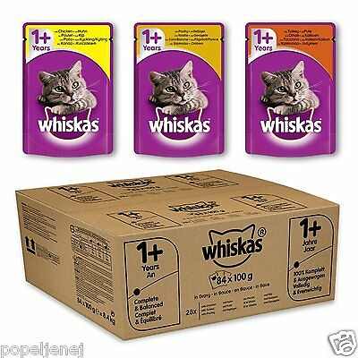 84 x Whiskas Wet Cat Food 1+ Adult Mixed Selection in Jelly or Gravy Pouch Pack