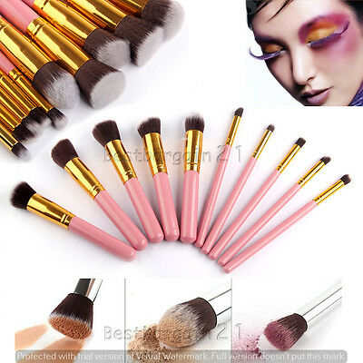 10pcs Pink & Gold  Kabuki Style Foundation Blusher Face Powder Make up Brush UK
