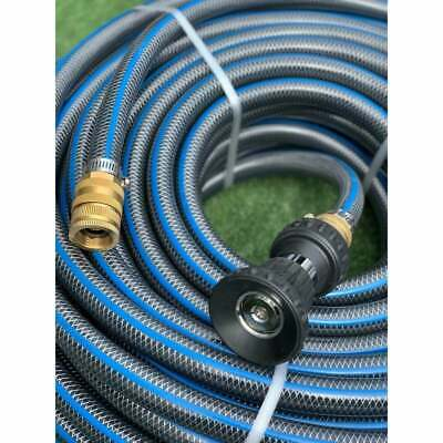 "40M Durable 18MM Garden Water Hose 3/4"" Brass Fittings & Fire Nozzle RRP $139"