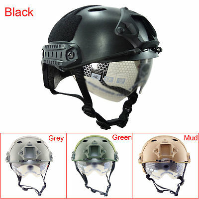 Outdoor Military Airsoft Paintball Tactical Protective Fast Helmet With Goggle A