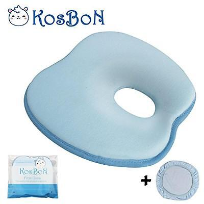 KSB 9 Inches Blue Soft Memory Foam Baby Head Positioner Pillow,Prevent Flat Head