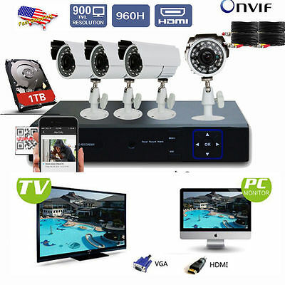 4CH 960H DVR+4 CCTV 900TVL Camera Home/Shop/Video Security System US SHIP
