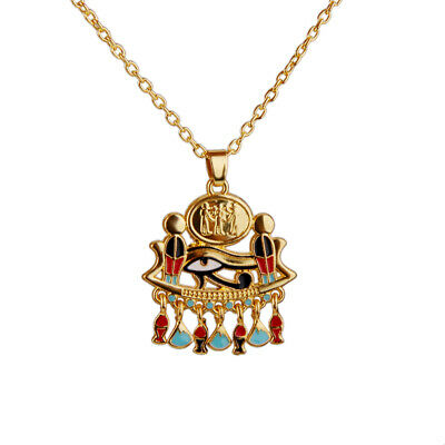Gold GOTHIC/ STEAMPUNK Egyptian Eye of Horus charm pendant Necklace Chain