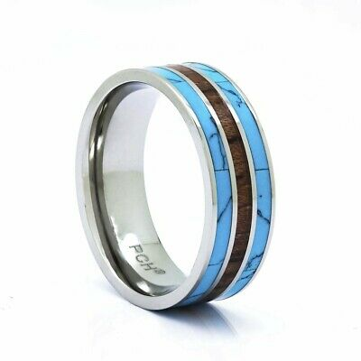 Titanium Turquoise and Koa Wood Ring 8mm Comfort Fit 3 Row Wedding Band 7-13
