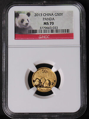 China 2013 Panda 1/10oz 50 Yuan Gold Coin NGC MS70 - Panda Label