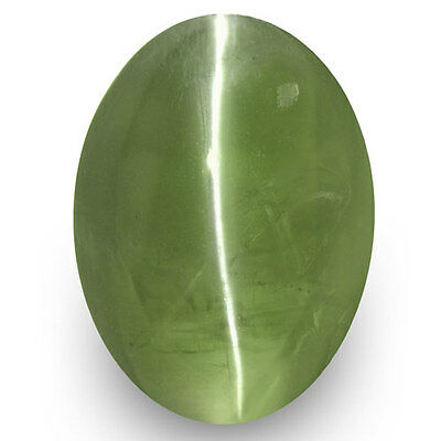 1.39-Carat Oval-Cut Deep Green Indian Alexandrite Cat's Eye (Strong Chatoyance)