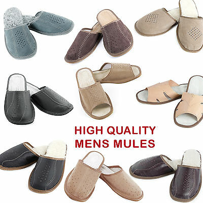 High-quality leather mens slippers mules UK SELLER