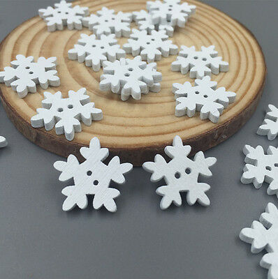 100pcs Crafts Christmas Snowflake Wooden Buttons Sewing Scrapbooking 18mm