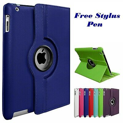 Leather 360 Degree Rotating Stand Case Cover Apple iPad 2 3 4 iPad Air 1 2 Mini