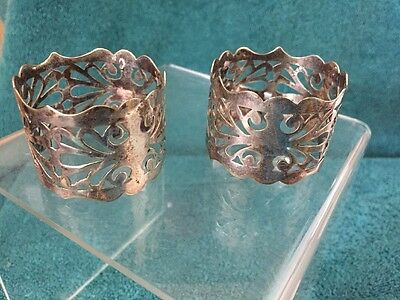 Antique Set Of  2 Silver Plated And Pierced Napkin Rings