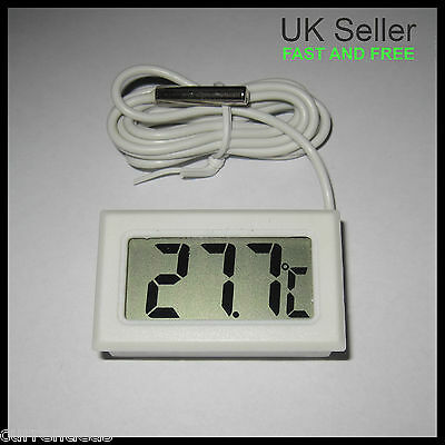 Digital Thermometer with Probe Temperature Sensor Mini White for Aquarium