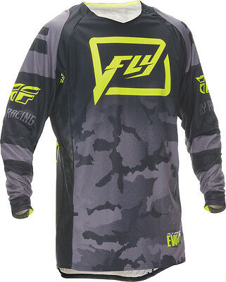 FLY RACING Offroad MTB BMX 2016 EVOLUTION Code 2.0 Jersey (Blk/Grey) Choose Size