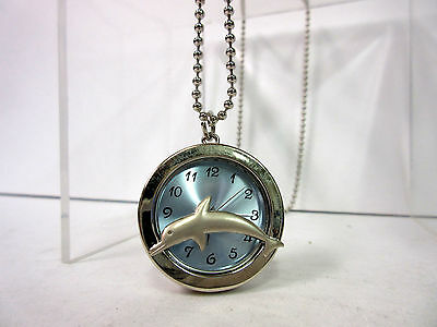 New Dolphin Blue Dial Necklace Chain Watch Dolphins