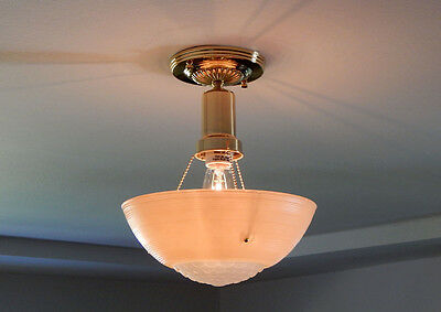 Drop Down Beaded Chain Ceiling Light Vintage Shade New Brass Fixture