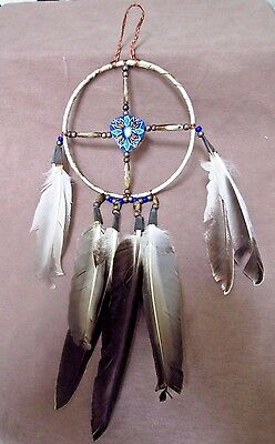 Native Navajo Handmade Leather Medicine Wheel  M0029