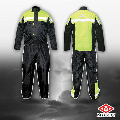 Motorcycle Rain Suit Rain Wet Weather Pants Jacket 2 PC Suit 100% Water Proof