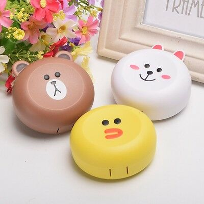 1pc Lovely Animal Pattern Contact Lens Case With Mirror Travel Container Box